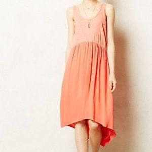 Anthropologie Left of Center coral Tulipan dress